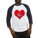 Mom and Baby ILY in Heart Baseball Jersey