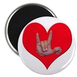 """Mom and Baby ILY in Heart 2.25"""" Magnet (100 p"""