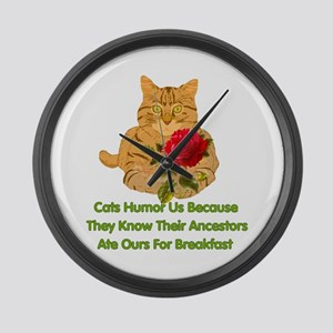 Cats Humor Us Large Wall Clock
