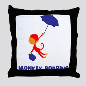 Monkey Poppins Throw Pillow