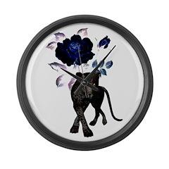 Wild Cat Rose Large Wall Clock
