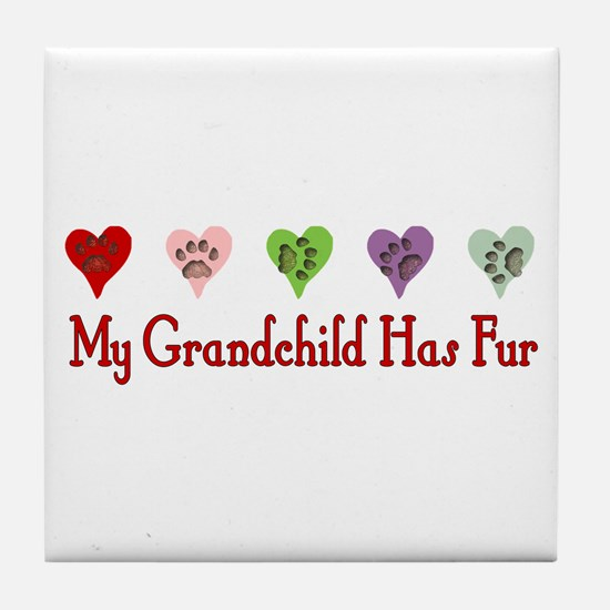 Furry Grandchild Tile Coaster