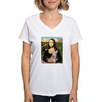 Mona Lisa / Greyhound #1 Women's V-Neck T-Shirt