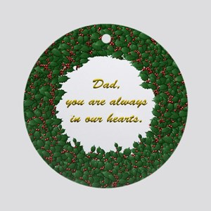 Memory of Dad Holly Wreath Ornament (Round)