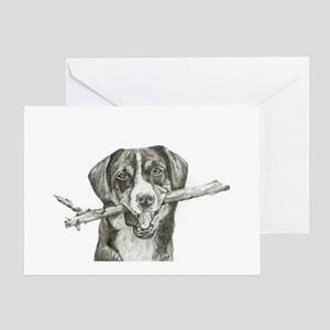 Dog with Stick Greeting Card