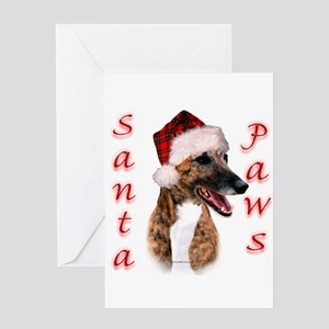 Brindle Santa Paws Greeting Card