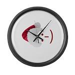 Smiley Emoticon - Santa Hat Large Wall Clock