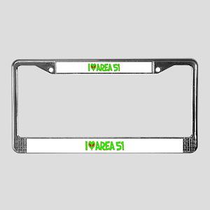 I Love-Alien Area 51 License Plate Frame