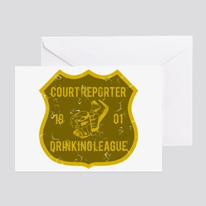 Court Reporter Drinking League Greeting Cards (Pk