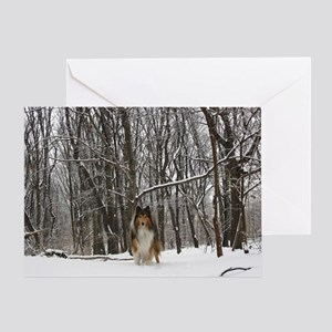 Collie in Winter Greeting Card