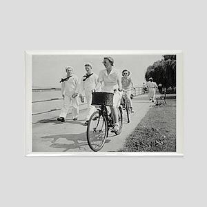Sailors and Bicycling Girl Rectangle Magnet