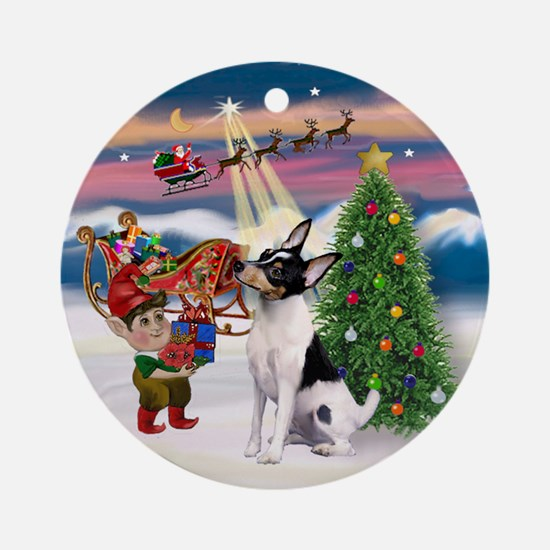 Toy Fox Terrier Christmas Tree Ornament (Round)