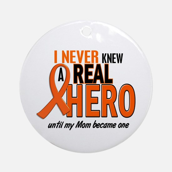 Never Knew A Hero 2 ORANGE (Mom) Ornament (Round)