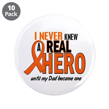 "Never Knew A Hero 2 ORANGE (Dad) 3.5"" Button (10 p"