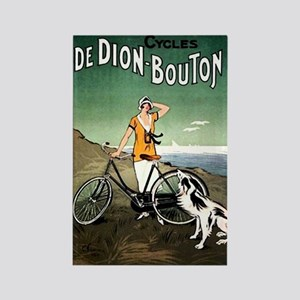 Bicycle Girl & Dog Rectangle Magnet
