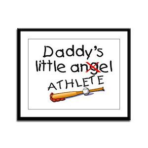 Daddy's Little Athlete (Baseball) Framed Panel Pri