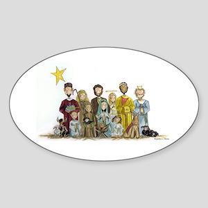 Christmas Nativity Oval Sticker
