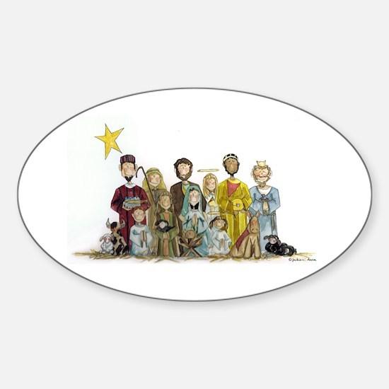 Christmas Nativity Oval Decal