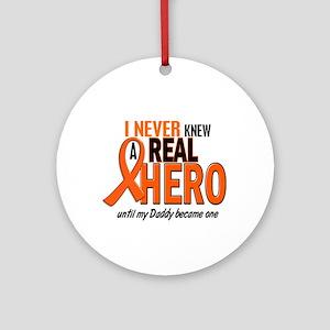 Never Knew A Hero 2 ORANGE (Daddy) Ornament (Round