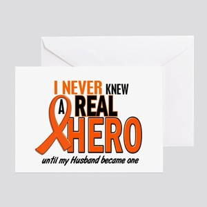 Never Knew A Hero 2 ORANGE (Husband) Greeting Card
