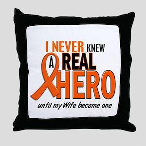 Never Knew A Hero 2 ORANGE (Wife) Throw Pillow