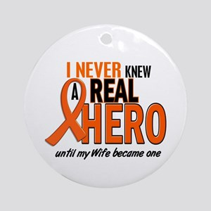 Never Knew A Hero 2 ORANGE (Wife) Ornament (Round)