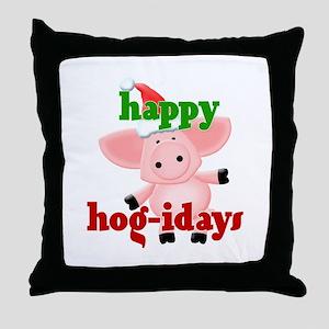happy hog-idays Throw Pillow