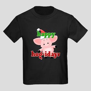 happy hog-idays Kids Dark T-Shirt