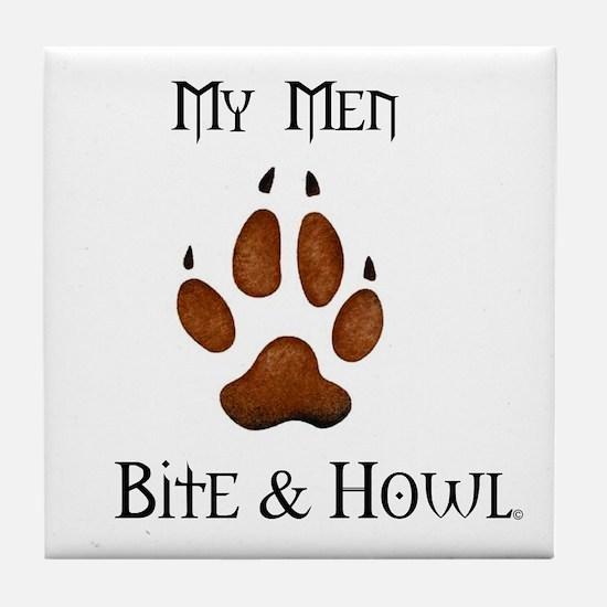 My men Bite & Howl Tile Coaster