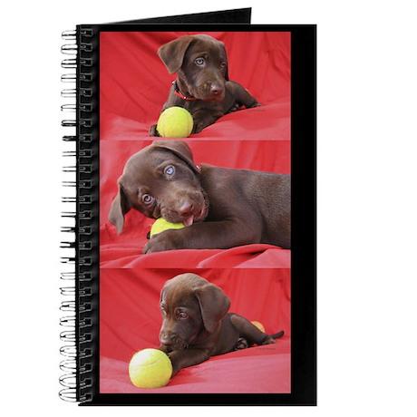 Lab Puppy Collage Black Journal