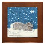 Rabbit in Winter snow Framed Tile