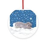 Rabbit in Winter snow Ornament (Round)