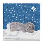 Rabbit in Winter snow Tile Coaster