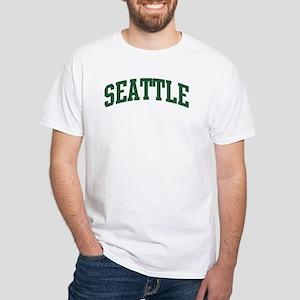 Seattle (green) White T-Shirt