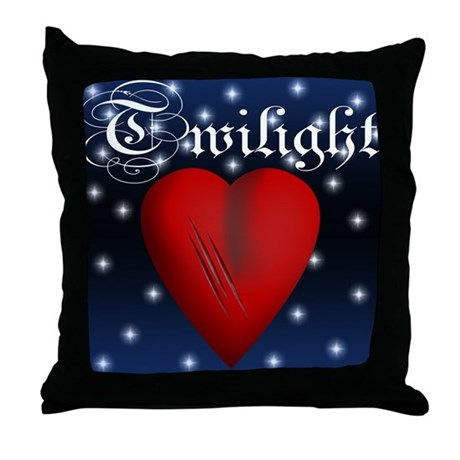 Sparkling Twilight Scratched Heart Throw Pillow
