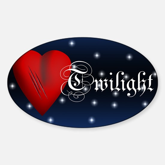 Sparkling Twilight Scratched Heart Oval Decal