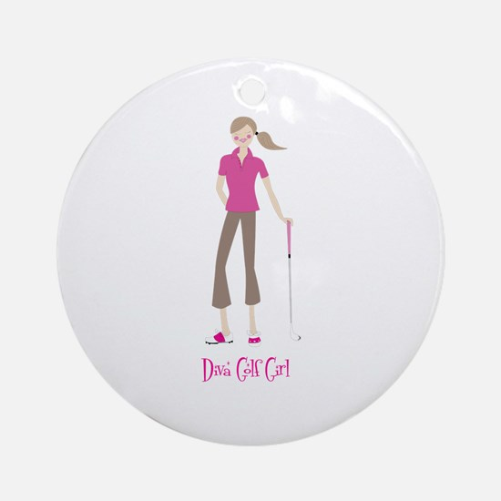 Diva Golf Girl - Ornament (Round)