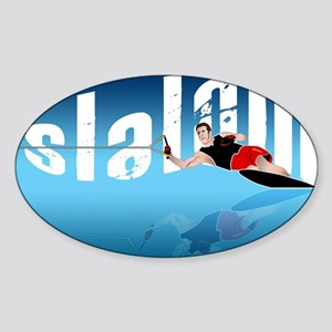 Slalom WaterSkier Oval Sticker