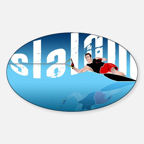Slalom WaterSkier Oval Decal