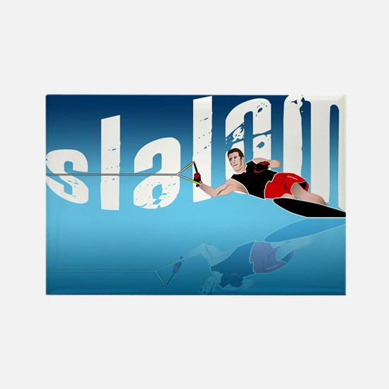 Slalom WaterSkier Rectangle Magnet