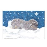Rabbit in Winter snow Postcards (Package of 8)