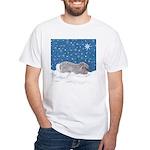 Rabbit in Winter snow White T-Shirt