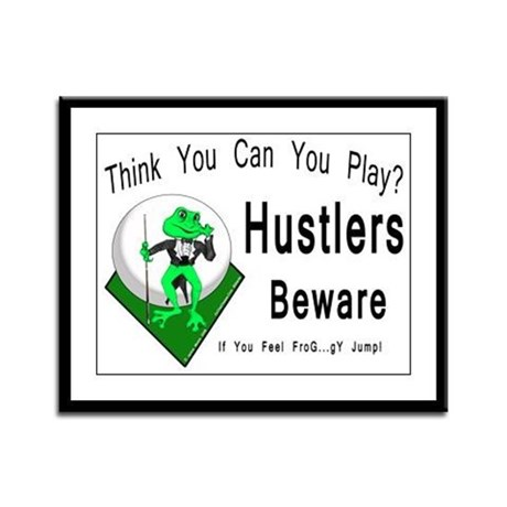 Hustlers Beware, Pool Playing Frog Large Framed Print