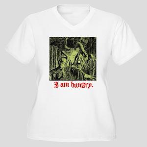I AM HUNGRY. Women's Plus Size V-Neck T-Shirt