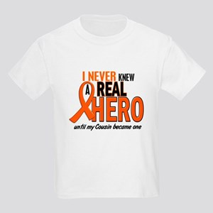 Never Knew A Real Hero 2 ORANGE Kids Light T-Shirt