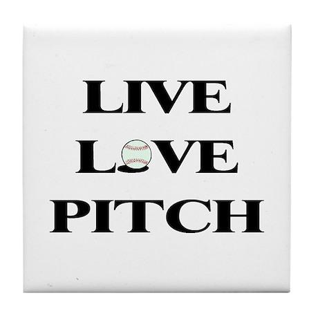 Live, Love, Pitch (Baseball) Tile Coaster