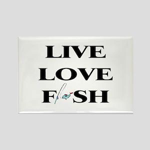 Live, Love, Fish Rectangle Magnet