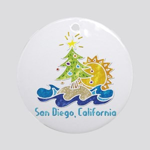 San Diego Holiday Ornament (Round)