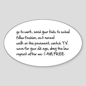 I am Free Oval Sticker