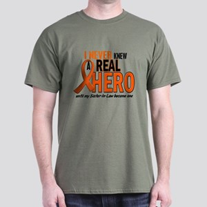 Never Knew A Real Hero 2 ORANGE Dark T-Shirt